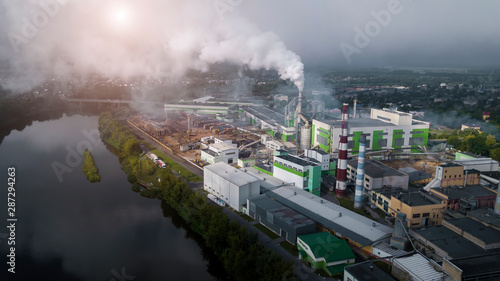 pollution of the environment by industrial enterprises aerial photography from a Tapéta, Fotótapéta