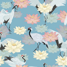 Seamless Pattern With Cranes And Lotuses