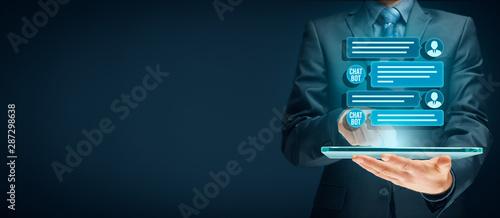 Obraz Chatbot digital tablet artificial intelligence communication - fototapety do salonu