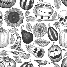 Halloween Seamless Pattern. Vector Hand Drawn Illustrations. Design With Pumpkins, Scull, Cauldron And Sunflower Retro Style. Autumn Background.