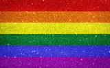 Fototapeta Tęcza - Sparkling pride rainbow colored flag