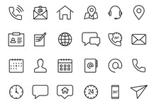 Contact Us Icons. Simple Thin Lines Web Icons Mail, Message, Telephone, Chat, And More