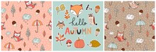 Hand Drawn Collection With Autumnal Design, Two Seamless Patterns And    Seasonal Stickers, Vector Design