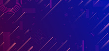 Neon Glowing Techno Lines, Blue Hi-tech Futuristic Abstract Background Template, Vector Illustration Design