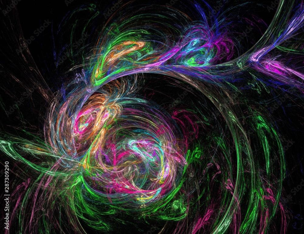 Fototapety, obrazy: image of one Digital Fractal on Black Color