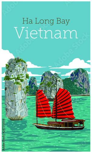 Poster Vert corail The wonderful Ha Long Bay (Descending Dragon Bay), Unesco world heritage in Vietnam. Vector illustration.