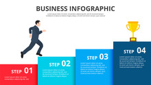 Businessman Steps Up The Stairs To The Trophy. Growth Infographics With 4 Options. Presentation Slide.
