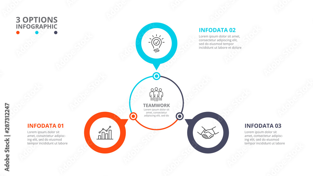 Fototapeta Cyclic diagram infographic with circles. Modern infographic design template with 3 options, steps or parts. Flat vector illustration for business presentation.