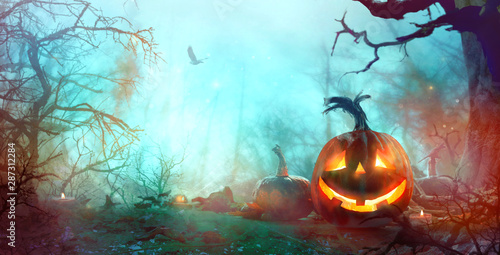 Poster Asia Country Halloween background with pumpkins