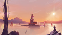 Maidens Tower On Bosphorus Strait At Sunset