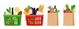 Grocery food basket. Eco shopping bags and baskets with food. Vector supermarket illustration