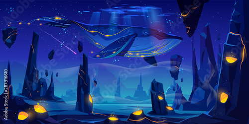 Fantasy dream, space fairy tale background with huge whale flying in night neon sky over phantasmagoric alien planet surface with rocks and craters full of glowing lava. Cartoon vector illustration