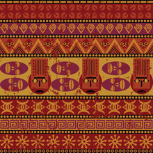 Seamless Repeat Pattern With African Masks