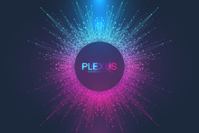 Abstract Plexus Background With Connected Lines And Dots. Big Data Visualization. Molecule And Communication Background. Graphic Background For Your Design. Lines Plexus Visual Vector Illustration.