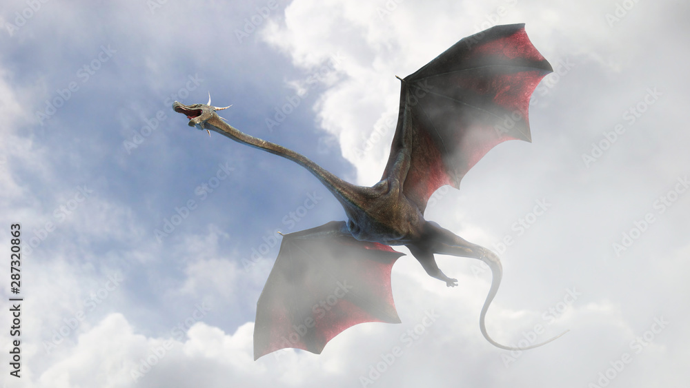 giant dragon, fairy tale creature flying through the clouds (3d fantasy illustration)