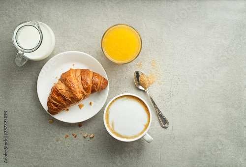 Breakfast with coffee and croissant Wallpaper Mural