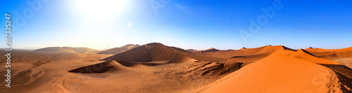 Fotobehang Oranje eclat Breathtaking panorama from the top of Dune 45, Namib desert, Namibia
