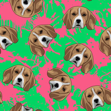 Decorative Dog Print With Beagle Muzzles And Paint Splashes On Lime Backdrop.
