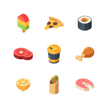 Isometric Food. Sushi Meal Bre...