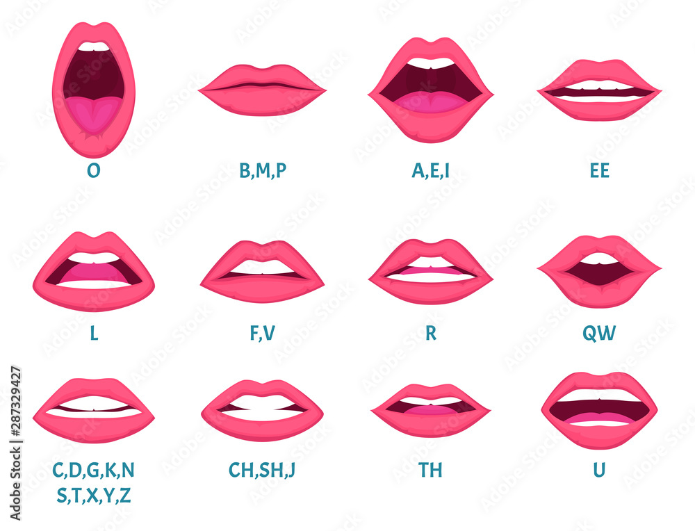Fototapety, obrazy: Female mouth animation. Sexy lips speak sounds pronunciation english letters animation frames vector template. Animation expression, facial talk and speak english language illustration