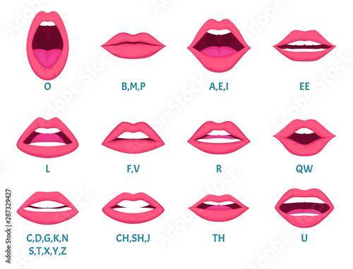Fotografie, Obraz  Female mouth animation
