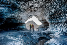 Blue Crystal Ice Cave, Underground Beneath The Glacier In Iceland, Europe