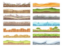 Game Seamless Ground. Cartoon Rock Dirt Landscape Stone Ground Asset 2d Floor Vector Background. Game Seamless Soil And Grass, Snow Surface Illustration