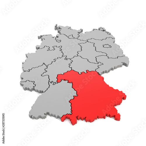3d deutschlandkarte 3d Illustation   Deutschlandkarte in grau mit Fokus auf Bayern in
