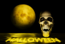 Vampire Skull On Black With Yellow Moon, Halloween Background Concept - 3d Render