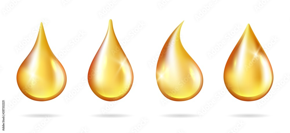 Fototapeta Shine yellow droplets. Realistic oil drops isolated on white background. Vector liquid drip juice honey petrol. Illustration realistic oil liquid, droplet transparent natural, golden essence collagen
