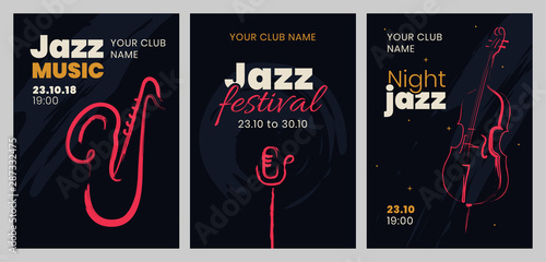 Vector set of posters for a jazz festival or concert with musical instruments Wallpaper Mural