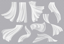 Window Curtains. Flowing Blank Fabric With Folds Interior Clothing Soft Silk Fluttering Decoration Material Vector Realistic Template. Soft Textile Fabric, Interior Of Silk Smooth Illustration