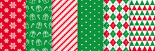 Christmas Seamless Pattern. Xmas New Year Wrapping Paper. Vector. Background With Snowflake, Gift, Candy Cane Stripes, Polka Dot, Tree, Rhombus. Festive Texture, Textile Print. Red Green Illustration