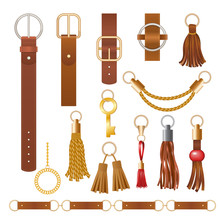 Belt Elements. Fashion Leather Chains Fabric Furniture Elegant Jewelry For Clothes Vector Collection. Illustration Leather Belt And Strap, Gold Ornament And Buckle Accessory