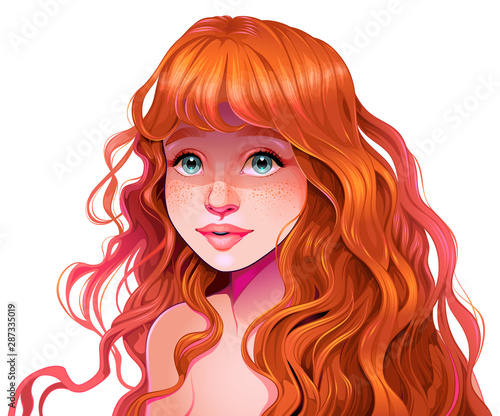 Photo sur Aluminium Chambre d enfant Girl with red hair