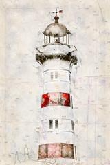 FototapetaDigital artistic Sketch of a Lighthouse in Malmoe in Sweden