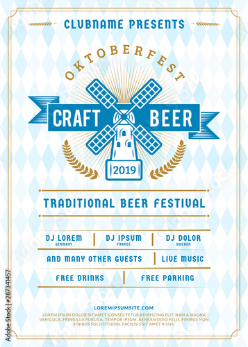Oktoberfest beer festival celebration. Typography poster or flyer template for beer party. Vintage beer label on the traditional Bavarian linen flag background