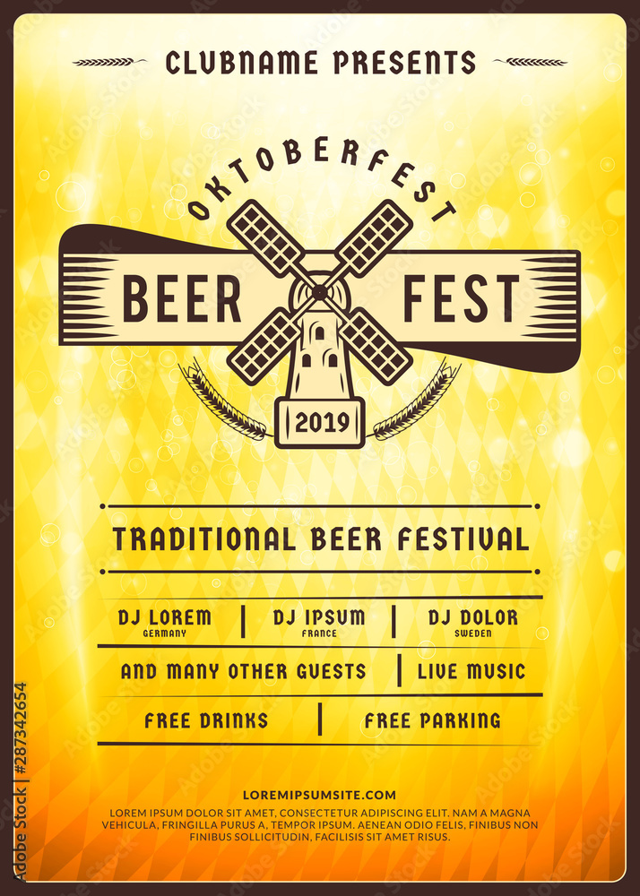 Fototapety, obrazy: Oktoberfest beer festival celebration. Typography poster or flyer template for beer party. Vintage beer label on the golden beer background with light effects