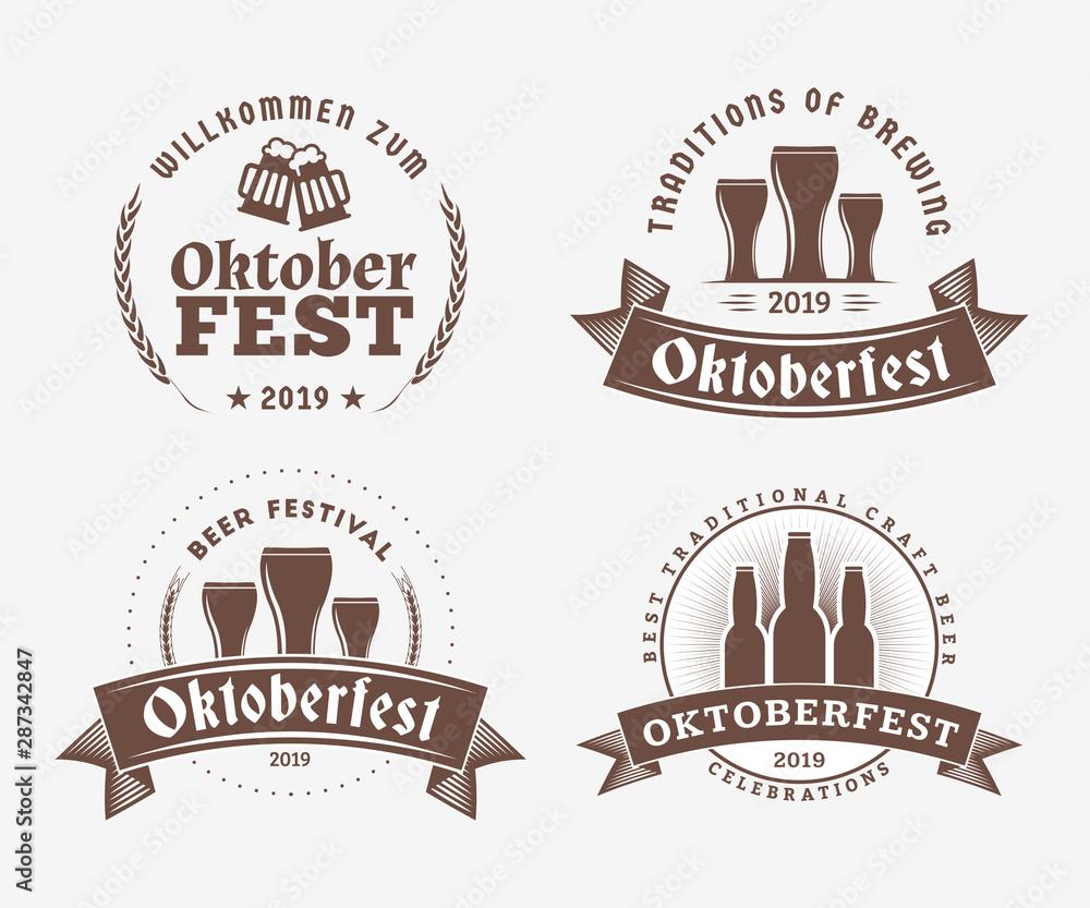 Fototapety, obrazy: Beer festival Oktoberfest celebrations. Set of retro vintage beer badges, labels, logos for bar, pub, beer party. Vector design elements