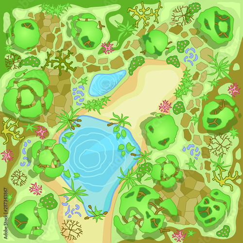Fotobehang Bloemen vrouw Site improvement Landscape and tourist camp in the forest. (Top view) Pond, stones, trees, plants, lake, beach. (View from above). Terrain design. Vector illustration.