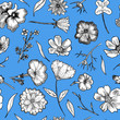 canvas print picture Floral Seamless Pattern Black and white hand drawn illustration in realistic style. Small graceful plants with black contour isolated on blue. Can be used for invitation cards, banners, flyers.