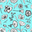 canvas print picture Floral Seamless Pattern Black and white hand drawn illustration in realistic style. Small graceful plants with black contour isolated on turquoise. Can be used for invitation cards, banners, flyers.
