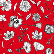 canvas print picture Floral Seamless Pattern Black and white hand drawn illustration in realistic style. Small graceful plants with black contour isolated on red. Can be used for invitation cards, banners, flyers.