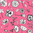 canvas print picture Floral Seamless Pattern Black and white hand drawn illustration in realistic style. Small graceful plants with black contour isolated on light pink. Can be used for invitation cards, banners, flyers.