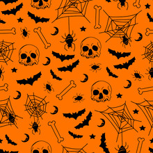 Spooky Haloween Seamless Pattern