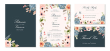 Wedding Invitation Suite With Pretty Flower Watercolor