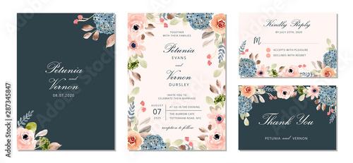 Cuadros en Lienzo  wedding invitation suite with pretty flower watercolor