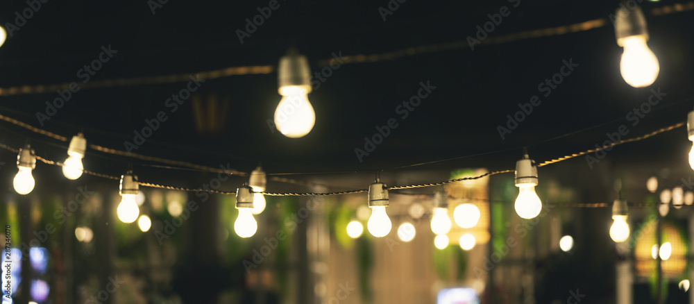 Fototapety, obrazy: outdoor party string lights glowing at night