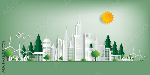 Cadres-photo bureau Olive Vector illustration. Eco friendly concept, Green city save the world