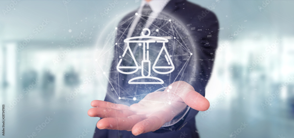 Fototapety, obrazy: Businessman holding Cloud of justice and law icon bubble with data 3d rendering